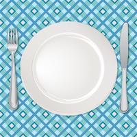 Set de table. Fourchette, couteau, cuillère, assiette. Service de couverts. Signe de la restauration vecteur