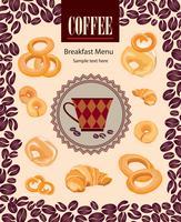 Café boisson chaude. Fond de carte de café. Modèle rétro de grains de café. vecteur