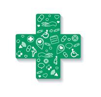 Charité, donation en croix icône médicale vecteur