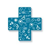 Charité, donation en croix icône médicale