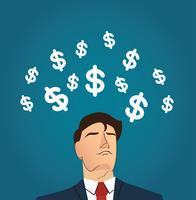 Homme d'affaires avec illustration vectorielle icône dollar