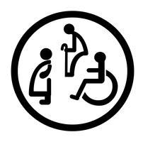 salle de bain pour personnes handicapées. signe de toilette pour handicapés