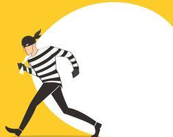 voleur dans une caricature de bandit caractère masque avec fond de sac de voleur vecteur