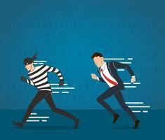 un homme d'affaires attraper le voleur vecteur
