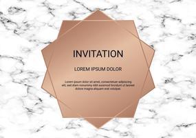Modèle de conception de carte de voeux, bannière minimale et couverture avec texture en marbre et fond géométrique feuille dorée détail