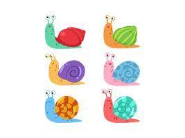 Vecteur d'escargot dessin animé mignon sertie de différents coquillages sur fond blanc
