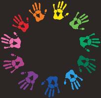 Abstrait avec empreintes de mains colorées