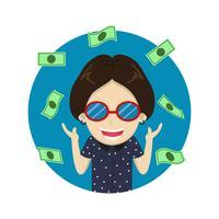 Personnage de dessin animé heureux homme riche avec beaucoup d'argent - illustration vectorielle