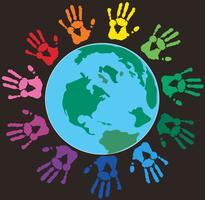 Main colorée imprime autour du vecteur de la terre