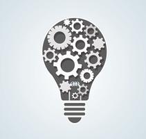 engrenages en forme d'ampoule, concept abstrait d'engrenages de la pensée vecteur