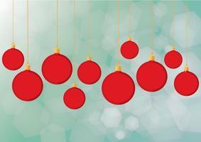 Boules de Noël rouges et vecteur de fond
