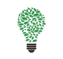 green leafs en vecteur de forme ampoule, concept de nature, journée mondiale de l'environnement