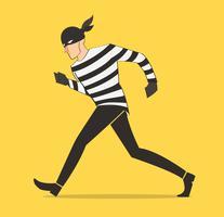 voleur dessin animé bandit cambrioleur dans un masque vecteur