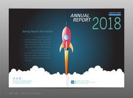 Rapport annuel de la conception de la couverture, concept de leadership et de démarrage.