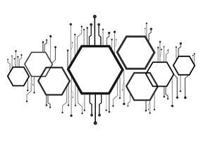 ruche d'abeille abstrait, hexagone et fond de ligne de technologie
