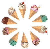 caricature de crème glacée pastel