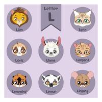 Alphabet portrait animalier - Lettre L vecteur