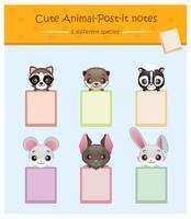 Collection de porte-bloc notes animaux mignons vecteur