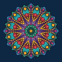 Mandala d'ornement sur fond bleu foncé