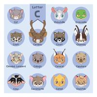 Alphabet portrait animalier - Lettre C vecteur