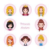 Collection d'avatars princesse vecteur
