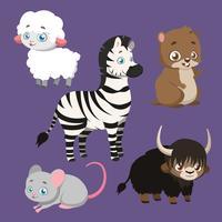 Ensemble de cinq espèces animales différentes vecteur