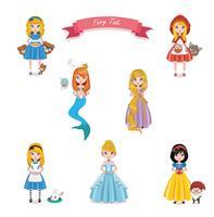 Collection de personnages de contes de fées vecteur