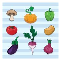 Collection de divers légumes vecteur