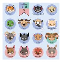 Alphabet portrait animalier - Lettre T, U et V vecteur