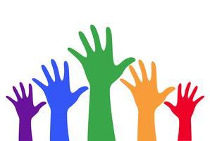 mains haut vecteur coloré