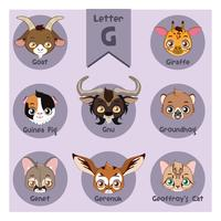 Alphabet portrait animalier - Lettre G