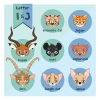 Alphabet portrait animalier - Lettre I et J vecteur