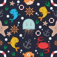 Modèle sans couture animaux et objets marins