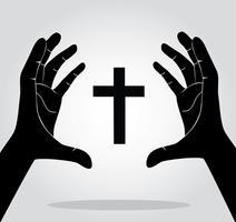 mains tenant la croix