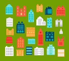Bâtiments de ville de style plat vecteur