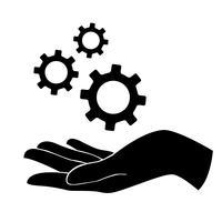 main tenant engrenage, symbole ingénieur