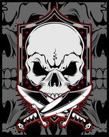 crâne avec croix sword.vector dessin à la main vecteur