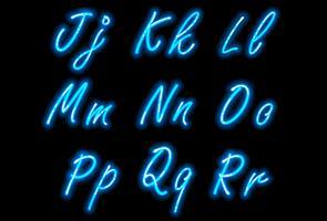 Police de l'alphabet néon dans la partie 2 bleue vecteur