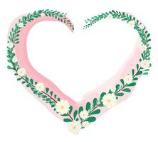 coeur de pastel feuille vecteur de fond couronne et espace