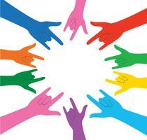 toutes les couleurs mains en signe de l'amour et le vecteur de fond