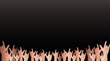 toutes les mains en signe de l'amour et le vecteur de fond