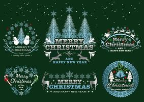 Set de badges de Noël / étiquettes sur un fond sombre. vecteur