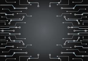 Technologie abstraite lignes noir art fond et espace vecteur