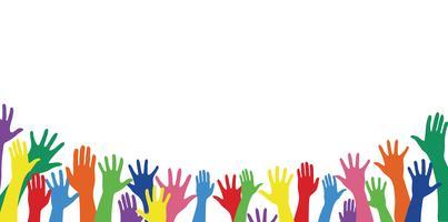 mains colorées et vecteur d'art de fond