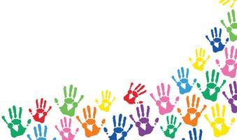 mains colorées imprime fond vecteur