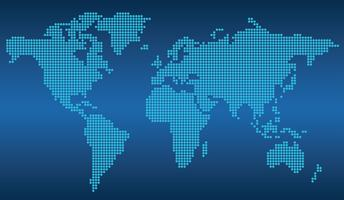 Carte du monde en pointillés sur fond bleu. vecteur