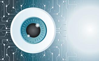 globe oculaire vecteur fond de technologie de puce
