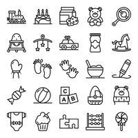 Pack d'icônes de douche de bébé vecteur