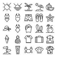 Pack d'icônes d'été vecteur