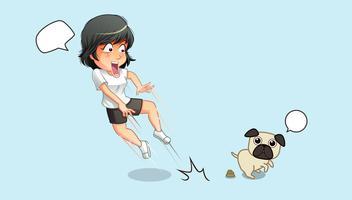 Elle est choquée pour son chien et ses excréments.